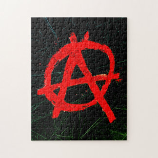 Grungy Red Anarchy Symbol Jigsaw Puzzle
