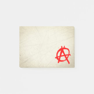 Grungy Red Anarchy Symbol Post-it Notes