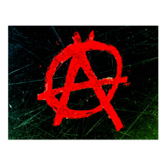 Grungy Red Anarchy Symbol Postcard