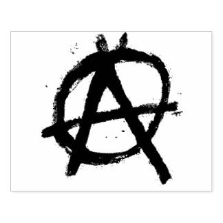 Grungy Red Anarchy Symbol Rubber Stamp
