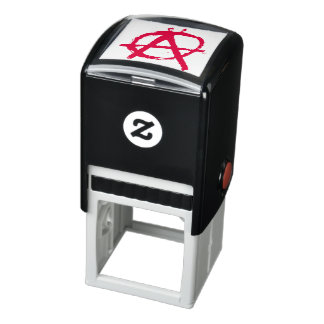 Grungy Red Anarchy Symbol Self-inking Stamp