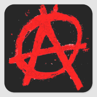 Grungy Red Anarchy Symbol Square Sticker