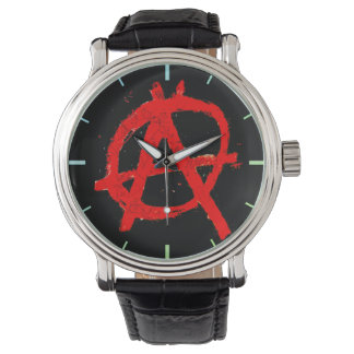 Grungy Red Anarchy Symbol Watch