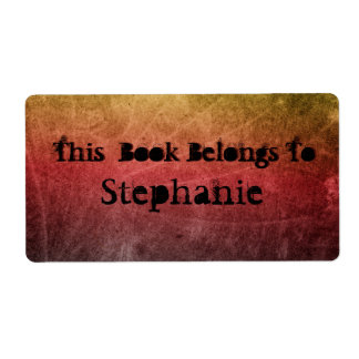 grungy red bookplate shipping label