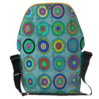 Grungy Retro Blue Circle Pattern Messenger Bags