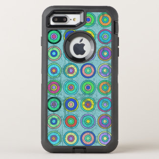Grungy Retro Blue Circle Pattern OtterBox Defender iPhone 7 Plus Case