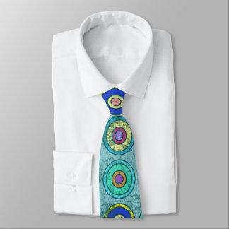 Grungy Retro Blue Circle Pattern Tie