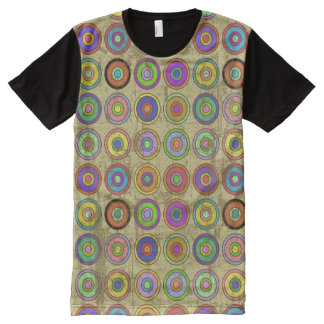 Grungy Retro Circle Pattern All-Over Print T-Shirt