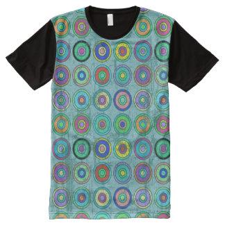 Grungy Retro Circle Pattern Blue All-Over Print T-Shirt