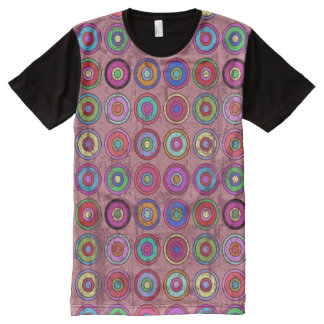 Grungy Retro Circle Pattern Pink All-Over Print T-Shirt