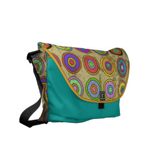 Grungy Retro Colorful Circle Pattern Courier Bag