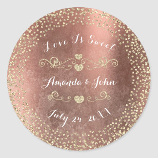Grungy Rose Gold Glitter Save the Date Love Sweet Round Sticker