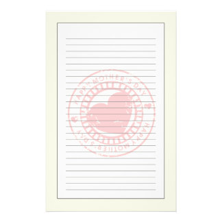 Grungy Rubber Stamp for Happy Mother's Day Personalized Stationery
