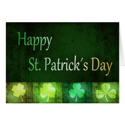 Grungy St. Patrick´s Day Shamrocks - Greeting Card