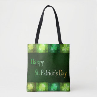 Grungy St. Patrick's Day Shamrocks - Tote Bag