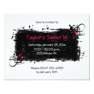 Grungy Sweet 16 Party Invitation