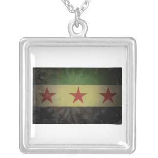 Grungy Syria Flag Silver Plated Necklace