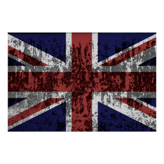 Grungy Union Jack Flag Poster