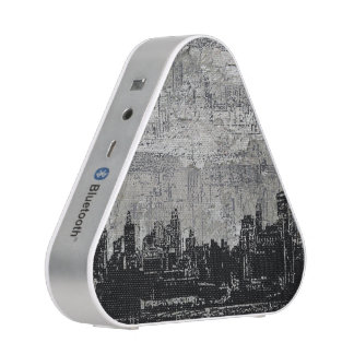 Grungy Urban City Scape Black White Bluetooth Speaker