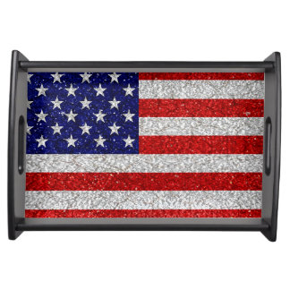 Grungy Usa Flag Serving Tray