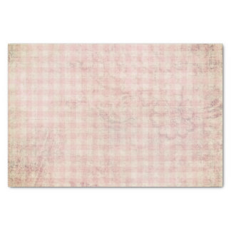 Grungy Vintage Gingham Checks Tissue Paper