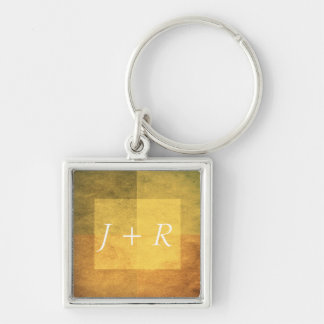 grungy watercolor-like graphic abstract 2 Silver-Colored square key ring