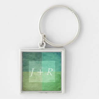 grungy watercolor-like graphic abstract 3 Silver-Colored square key ring