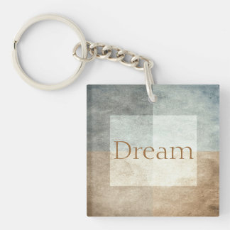 grungy watercolor-like graphic abstract Double-Sided square acrylic key ring