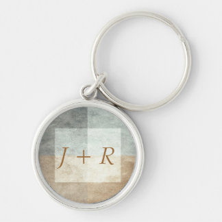 grungy watercolor-like graphic abstract Silver-Colored round key ring