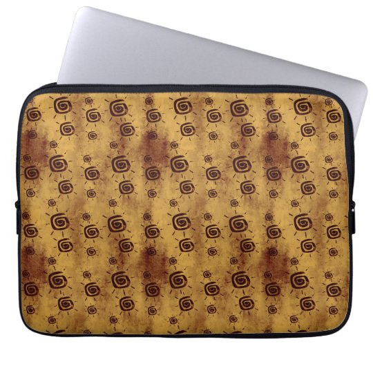 Grungy Yellow Sun Pattern Laptop Sleeve