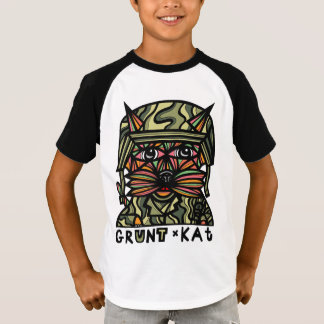 """Grunt Kat"" Boys' Short Sleeve Raglan T-Shirt"