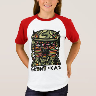 """Grunt Kat"" Girls' Short Sleeve Raglan T-Shirt"
