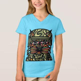 """Grunt Kat"" Girls' V-Neck T-Shirt"