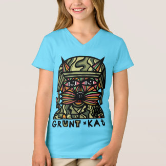 """Grunt Kat"" Girls' V-Neck T-Shirt"