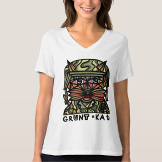 """Grunt Kat"" Relaxed Fit V-Neck T-Shirt"
