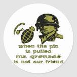Grunt When The Pin Is Pulled Mr. Grenade Round Stickers