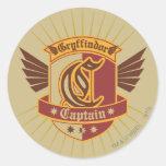 Gryffindor Quidditch Captain Emblem Round Sticker