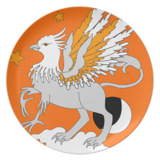 Gryphon Art Orange Dinner Plates