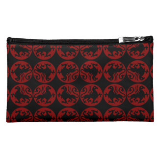 Gryphon Silhouette Pattern - Red and Black Cosmetics Bags