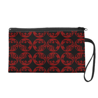 Gryphon Silhouette Pattern - Red and Black Wristlet Purse