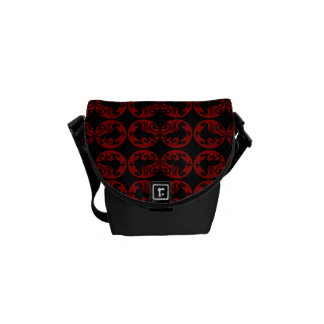 Gryphon Silhouette Pattern - Red and Black Messenger Bags