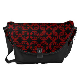 Gryphon Silhouette Pattern - Red and Black Courier Bags