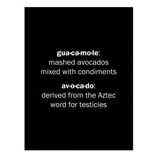 Guacamole Testicles Post Cards