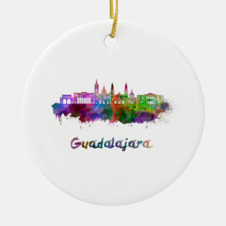 Guadalajara skyline in watercolor round ceramic decoration
