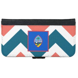 Guam Flag Box on Colorful Chevron iPhone 6 Wallet Case