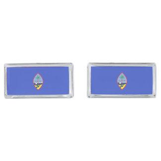 Guam Flag Silver Finish Cufflinks