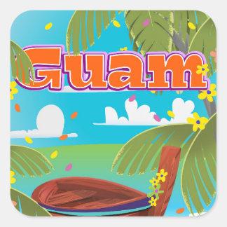 Guam Island holiday travel poster. Square Sticker