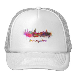 Guangzhou skyline in watercolor cap