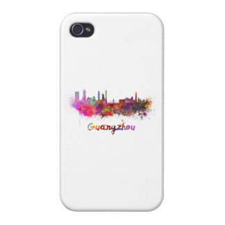 Guangzhou skyline in watercolor cases for iPhone 4