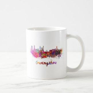 Guangzhou skyline in watercolor splatters basic white mug